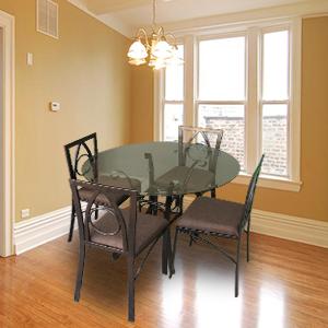 Comedor de 4 sillas modelo priscila el bara bara for Comedor vidrio 4 sillas